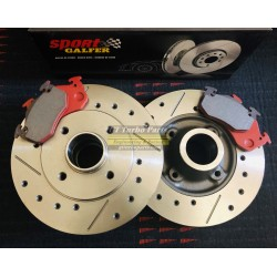 Set of Rear slotted and drilled discs and Galfer Sport pads. Standard size.
