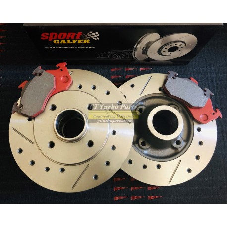 Set of Front + Rear slotted and drilled discs and Galfer Sport pads. Standard size.